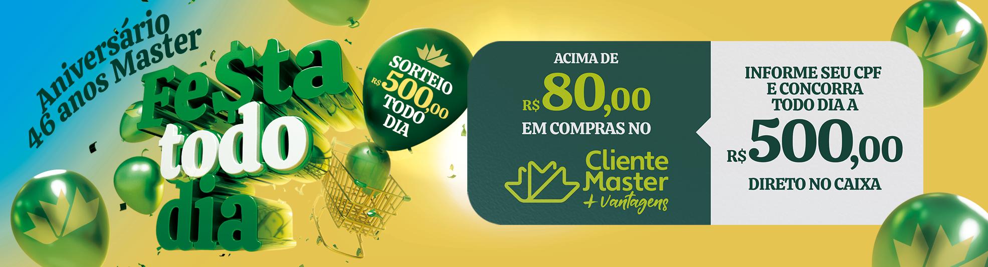 """Master comemora 46 anos e lança a promoção """"Festa Todo Dia"""" SP"""